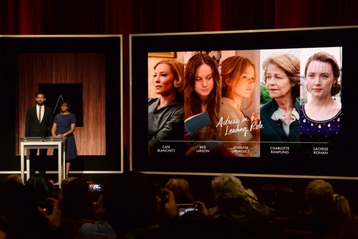 John Krasinski and Cheryl Boone Isaacs announce the nominees for Actress in a Leading Role during the nominations announcements for the 88th Academy Awards in Beverly Hills, California